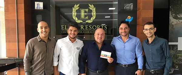 Thiago Benfica, gerente de vendas CVC, Emanuel Coelho, Promotor de Vendas, Mauri Viau, Ceo da Elite Resorts e sócios.