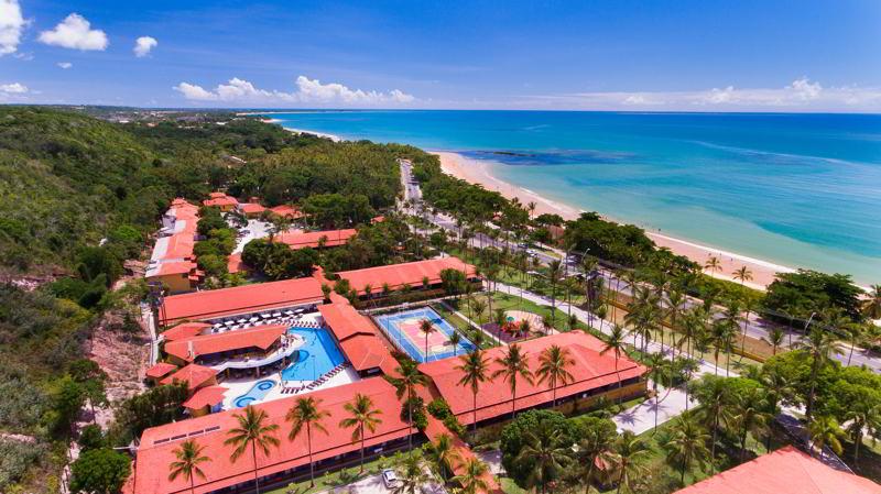 vista aérea da grande estrutura do resort para família